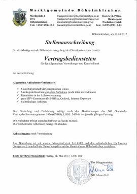 2017.04.10 | Marktgemeinde Böheimkirchen - Stellenausschreibung Vertragsbedienstete(r) für den allgemeinen Verwaltungs- und Kanzleidienst-