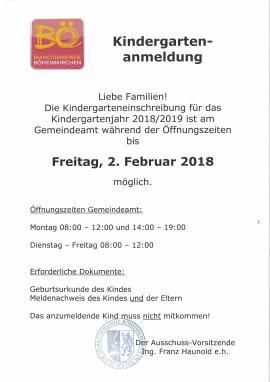 2018.01.05 | Kindergartenanmeldung für Kindergartenjahr 2018/19-