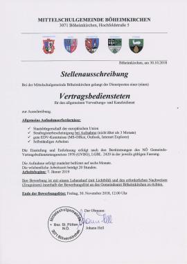2018.10.31   Mittelschulgemeinde Böheimkirchen - Stellenausschreibung-