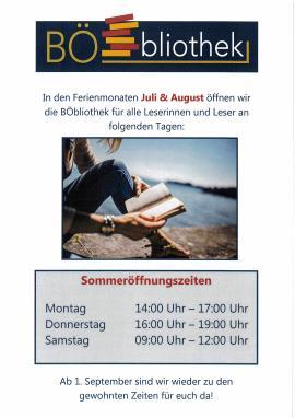 2019.06.28 | BÖbliothek Sommeröffnungszeiten-
