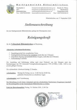 2020.09.18 |  Stellenauschreibung Reinigungskraft Volksschule-